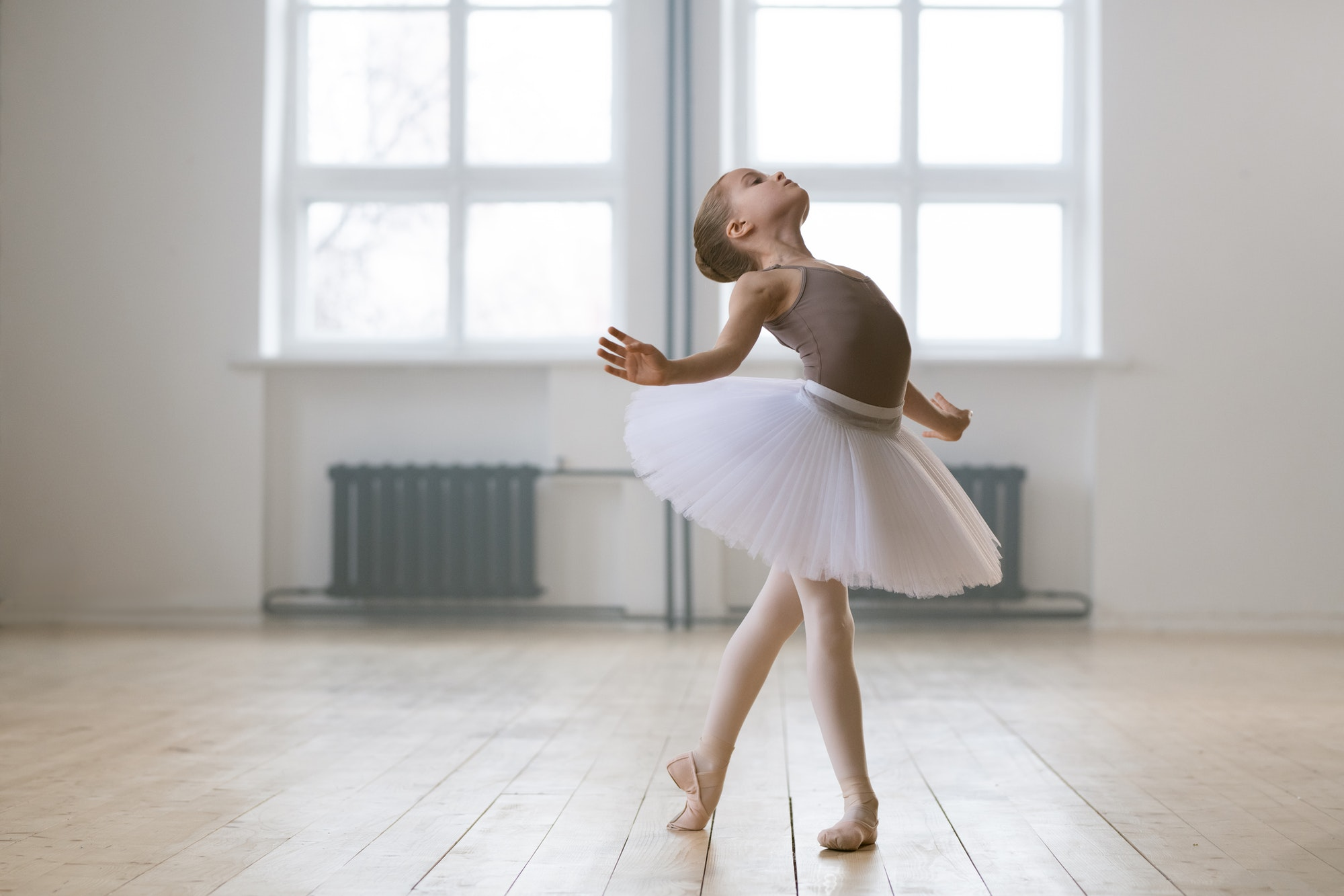 Young gifted dancer in a class